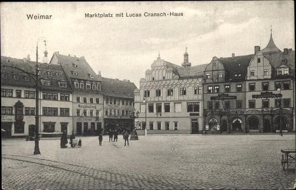 Ak Weimar in Thüringen, Marktplatz, Lucas Cranach Haus, Weinhandlung 0