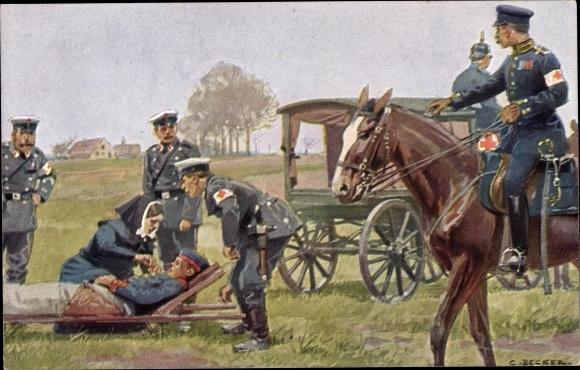Künstler Ak Becker, Carl, Verwundeter Soldat, Sanitäter, Schwester, Rotes Kreuz, I. WK