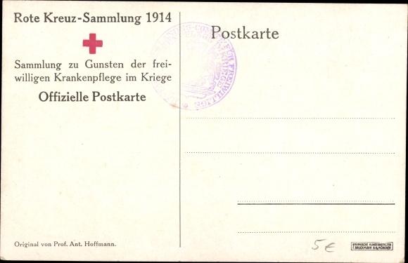 Künstler Ak Hoffmann, Anton, Verwundeter Soldat, Sanitäter, Dampflok, Rotes Kreuz, I. WK 1