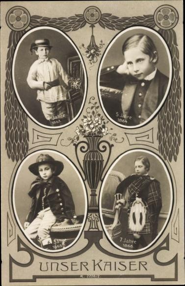Ak Kaiser Wilhelm II., Kinderportraits, 1863 - 1866, Schottenrock 0