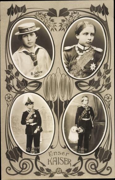 Ak Kaiser Wilhelm II., Kinderportraits, 1867 - 1870