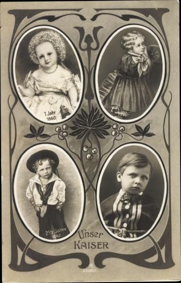 Ak Kaiser Wilhelm II., Kinderportraits, 1860 - 1862