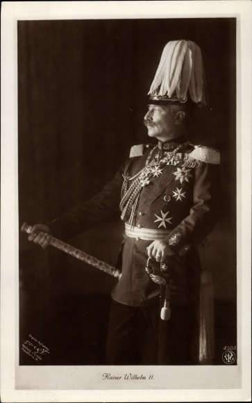 Ak Kaiser Wilhelm II., Portrait in Uniform, Paradebusch, NPG 4584 0