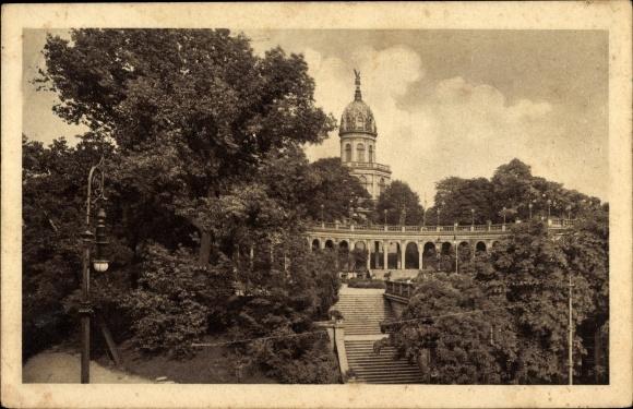 Ak Wrocław Breslau Schlesien, Bellevue Liebichshöhe, Treppe, Turm, Arkadengang, Bäume 0