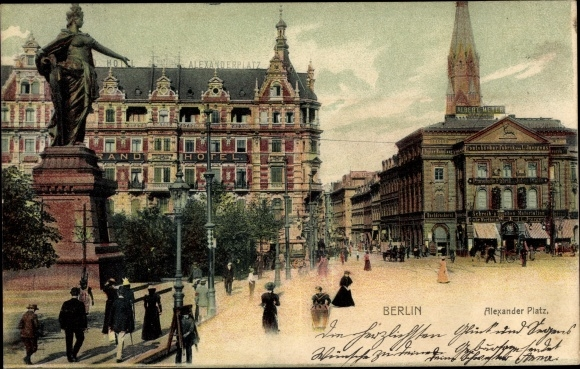 Ak Berlin Mitte, Alexanderplatz, Grand Hotel, Kontobücherfabrik L. Juergens, Pianoforte Fabrik 0