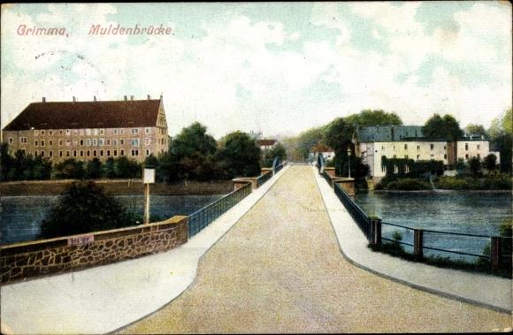 Ak Grimma in Sachsen, Muldenbrücke 0