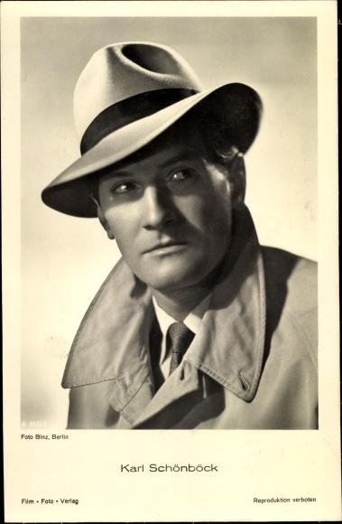 Ak Schauspieler Karl Schönböck, Portrait, Hut 0