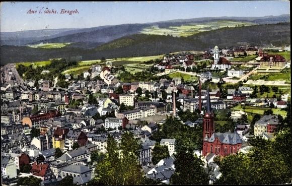 Ak Aue im Erzgebirge Sachsen, Totale 0