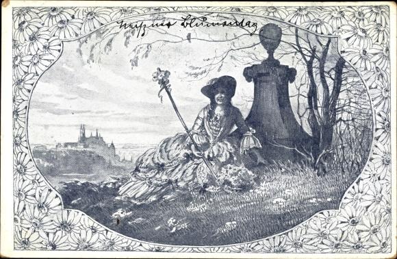 Passepartout Künstler Ak Meißen in Sachsen, Frau mit Stock sitzt im Gras, Blumen 0