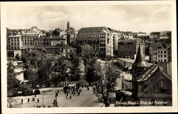 Ak Plauen im Vogtland, Blick auf Postplatz 0
