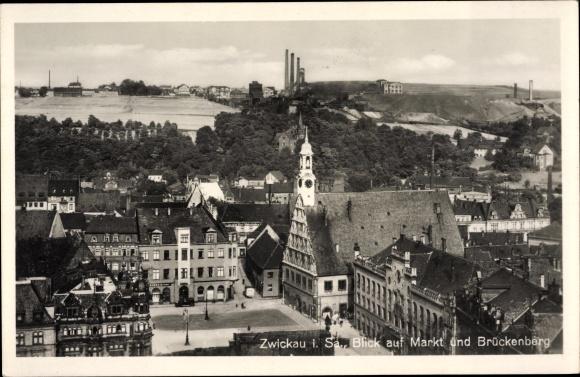 Ak Zwickau in Sachsen, Blick über Markt und Brückenberg