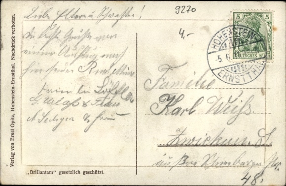 Präge Passepartout Ak Hohenstein Ernstthal Sachsen, Hüttengrund, Betlehemstift, Heiterer Blick 1
