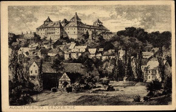 Künstler Ak Augustusburg im Erzgebirge, Panorama vom Ort 0
