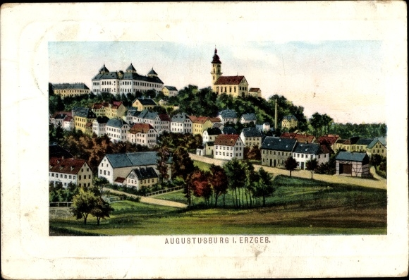 Ak Augustusburg im Erzgebirge, Panorama vom Ort 0