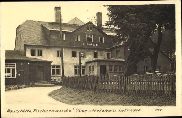 Foto Ak Rechenberg Bienenmühle Erzgebirge, Gaststätte Fischerbaude 0