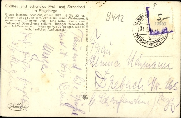 Ak Neustädtel Schneeberg im Erzgebirge, Strandbad Bergsee Filzteich, Parkplatz 1