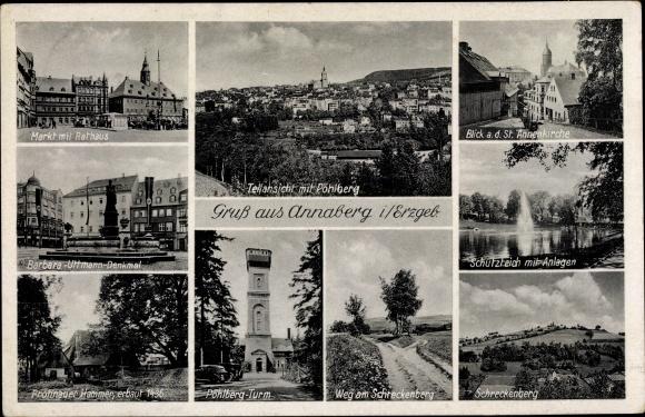 Ak Annaberg Buchholz Erzgebirge, Rathaus, Markt, St. Annenkirche, Pöhlberg Turm 0