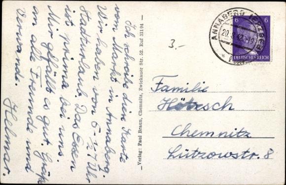 Ak Annaberg Buchholz Erzgebirge, Rathaus, Markt, St. Annenkirche, Pöhlberg Turm 1