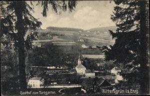 Ak Rittersgrün Breitenbrunn im Erzgebirge, Gasthof zum Turngarten, Panorama vom Ort