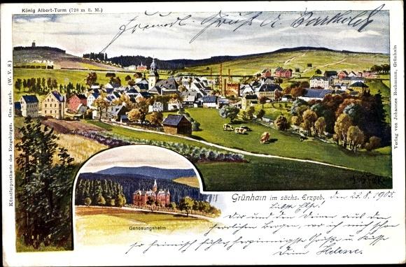 Ak Grünhain Beierfeld im Erzgebirge Sachsen, Genesungsheim, Panorama vom Ort m. König Albert Turm 0
