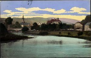 Ak Flöha in Sachsen, Einmündung der Flöha in die Zschopau