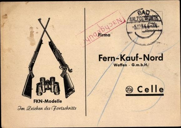 Ak Celle in Niedersachsen, Fern Kauf Nord Waffen GmbH, FKN Modelle, Gewehre, Fernglas 0