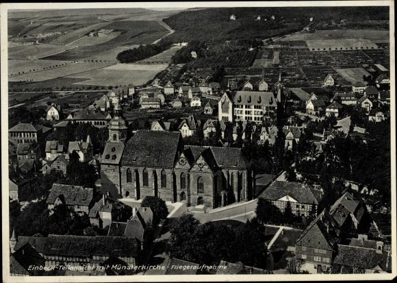 Ak Einbeck in Niedersachsen, Fliegeraufnahme, Münsterkirche, Teilansicht der Stadt 0