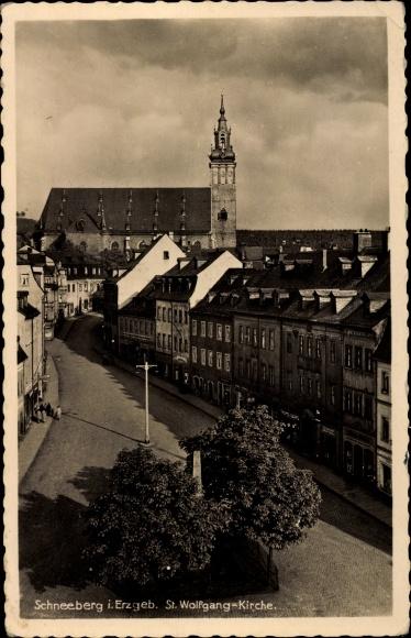 Ak Schneeberg im Erzgebirge, St. Wolfgang Kirche 0