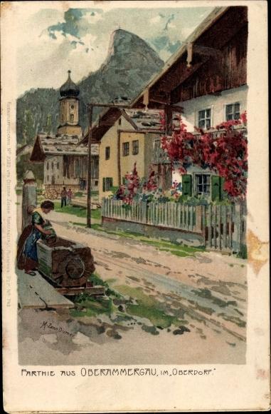 Künstler Litho Diemer, Zeno, Oberammergau in Oberbayern, Oberdorf