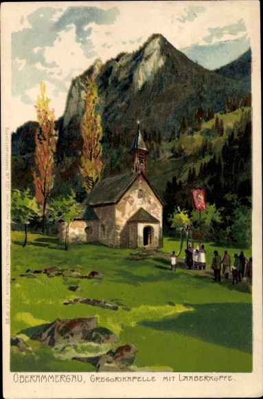 Künstler Litho Oberammergau in Oberbayern, Gregorikapelle, Laaberköpfe 0