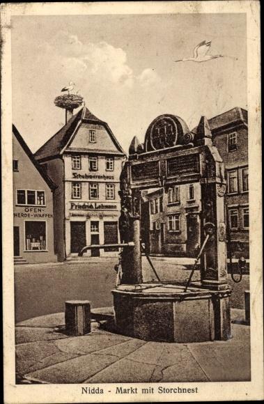 Ak Nidda in Hessen, Markt, Storchennest, Schuhwarenhaus 0