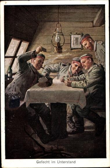 Künstler Ak Gefecht im Unterstand, Soldaten, Kartenspiel