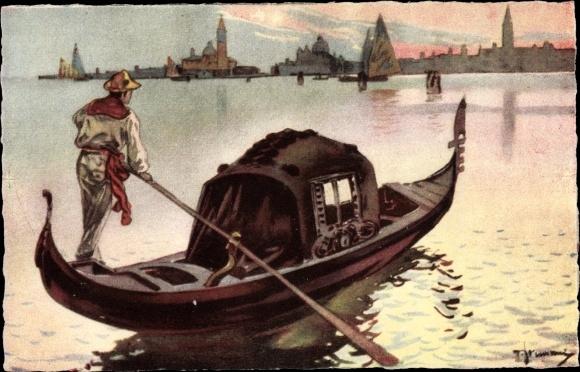 Künstler Ak Venezia Venedig Veneto, La Gondola, Gondel