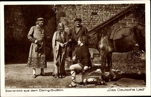 Ak Filmszene Das Deutsche Lied, Schauspieler Max Roberti, Gritta Ley, Harry Gondi, Wilh. Diegelmann