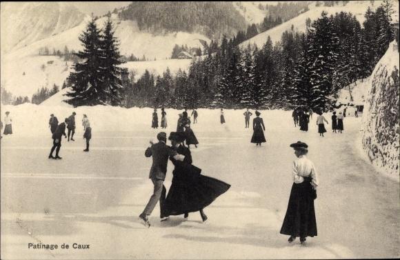 Ak Caux Kt. Waadt Schweiz, Patinage, Eisläufer 0