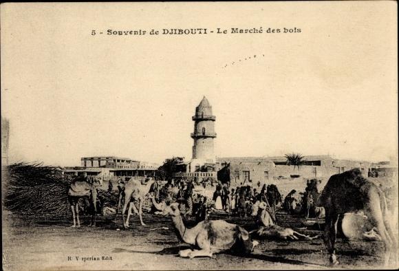 Ak Djibouti Dschibuti, Le Marché des bois, Holzmarkt, Kamele