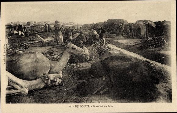 Ak Djibouti Dschibuti, Marché au bois, Holzmarkt, Kamele 0