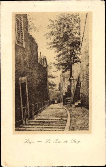 Ak Liège Lüttich Wallonien, La Rue du Perry 0