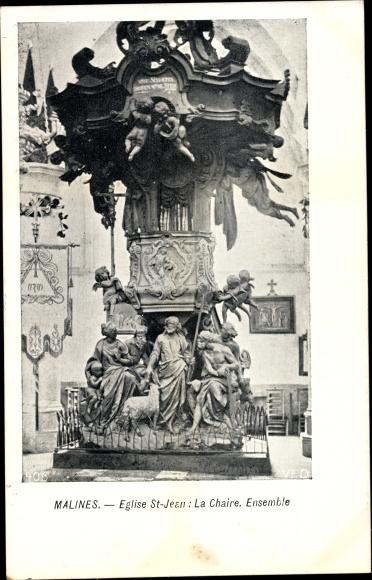 Ak Mechelen Malines Flandern Antwerpen, Église Saint Jean, La Chaire, Ensemble 0
