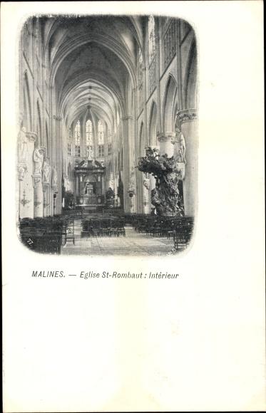 Ak Mechelen Malines Flandern Antwerpen, Église Saint Rombaut, Intérieur