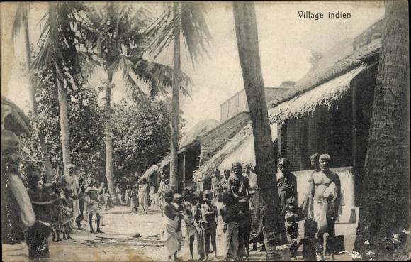 Ak Indien, Village, Dorfansicht, Anwohner 0