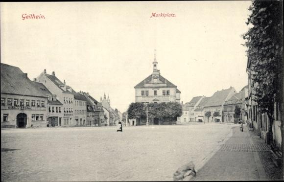 Ak Geithain in Sachsen, Marktplatz, Amtsgericht, Gasthof Goldner Löwe 0