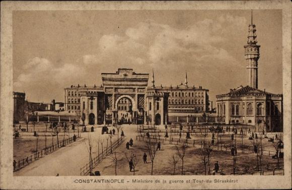 Ak Konstantinopel Istanbul Türkei, Ministère de la guerre et Tour du Séraskérat 0