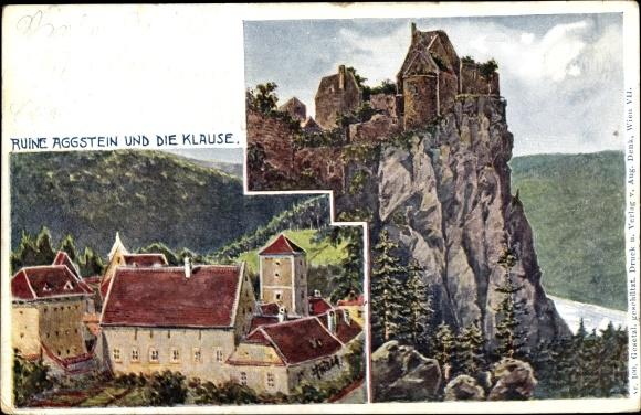 Künstler Ak Aggsbach in Niederösterreich, Burgruine Aggstein, Klause, Gesamtansichten, Felsen, Wald 0