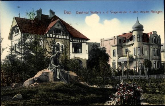 Ak Duchcov Dux Region Aussig, Denkmal Walters v. d. Vogelweide in den neuen Anlagen 0