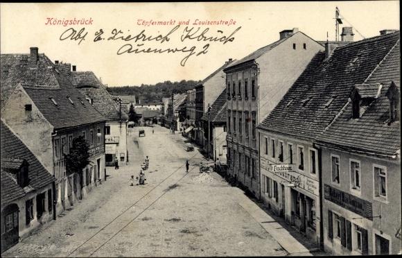 Ak Königsbrück in der Oberlausitz, Töpfermarkt, Louisenstraße, Fischhaus, Geschäft 0