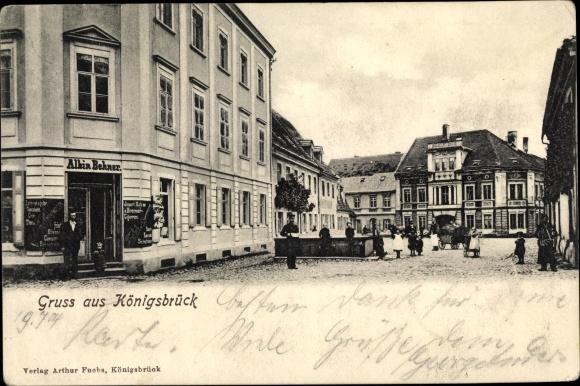 Ak Königsbrück in der Oberlausitz,, Geschäft, Straßenpartie