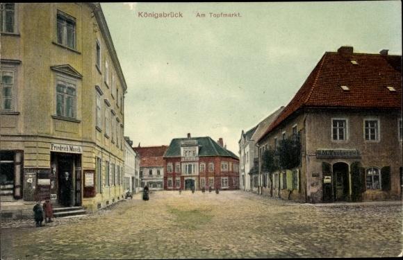 Ak Königsbrück in der Oberlausitz, Topfmarkt, Geschäft
