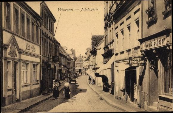 Ak Wurzen in Sachsen, Jakobsgasse, Geschäft Oswald Scherer, Anna Misslitz, Hotel Stadt Wien 0