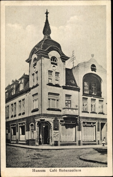 Ak Husum in Nordfriesland, Cafe Hohenzollern 0